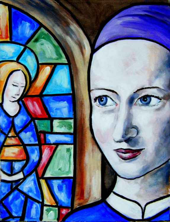 Woman by stained glass