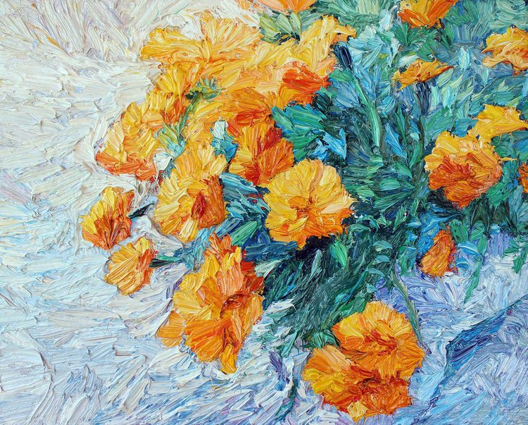 Cool Orange flowers oil painting 1 Simple - Luxury orange flower painting Simple