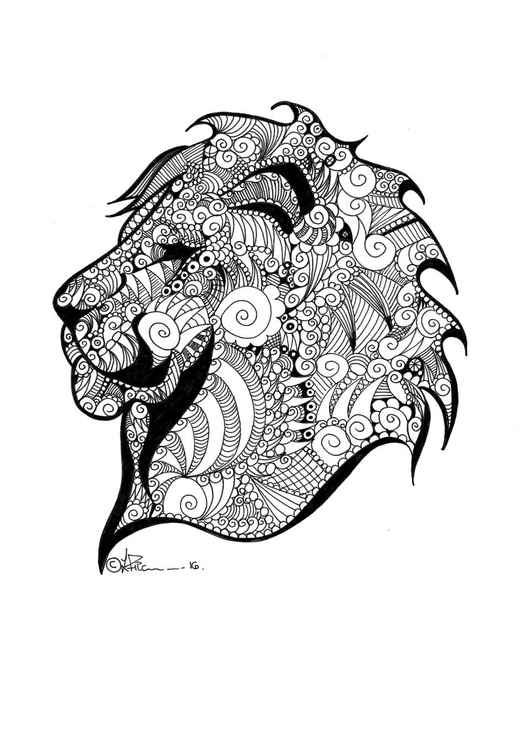 'Doodle Therapy Lion' -