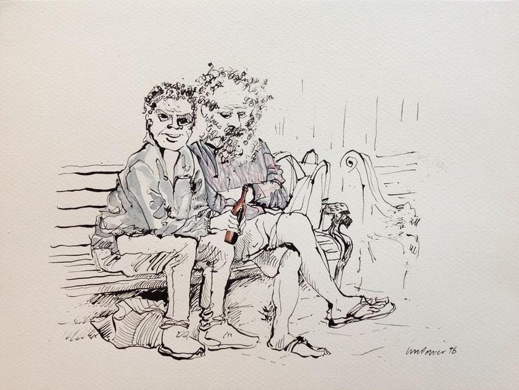 Old mates, park bench - Image 0