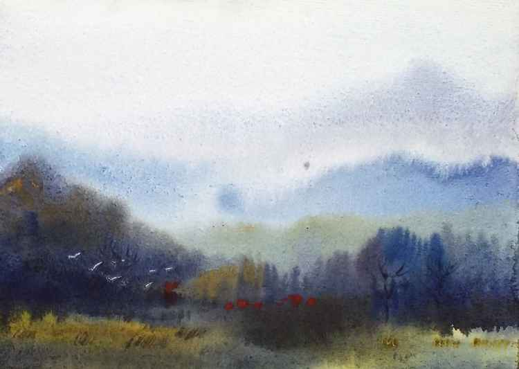 Cornfield & Himalaya Mountain -Watercolor on Paper Painting