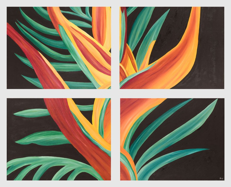 "Bird of Paradise - 32"" x 40"" (80 x 100 cm) Oil on 4 stretched Canvas (deep edges) - Image 0"