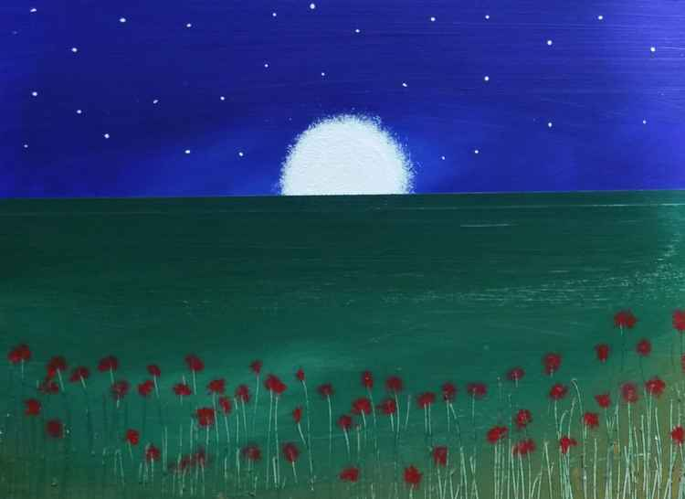 """ rose field and sinking moon ""Seascape 31x24cm -"