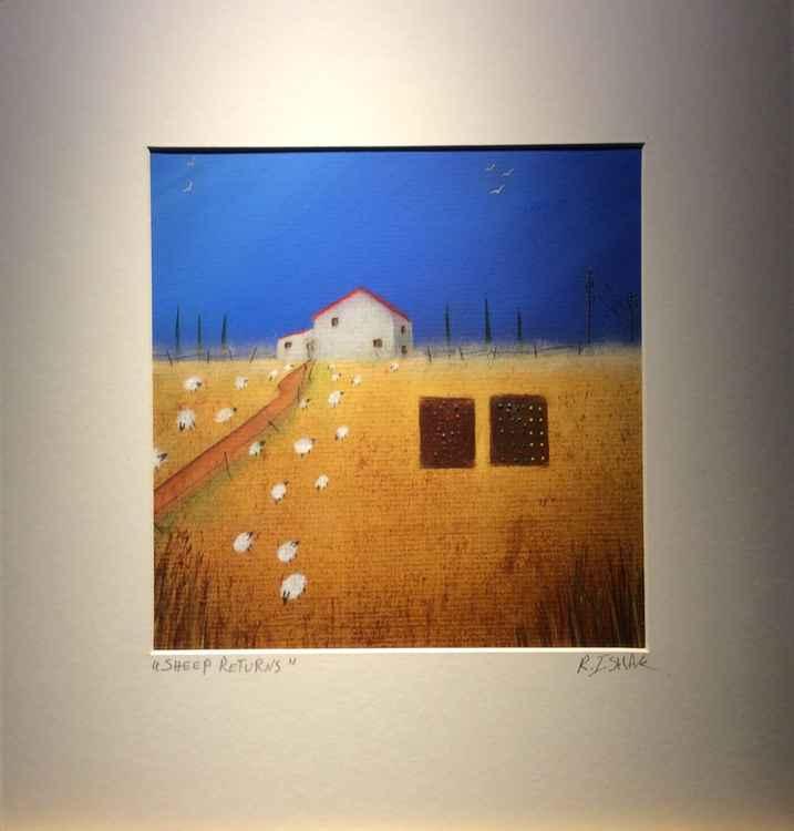""" sheep returns ""Landscape 25x25cm -"