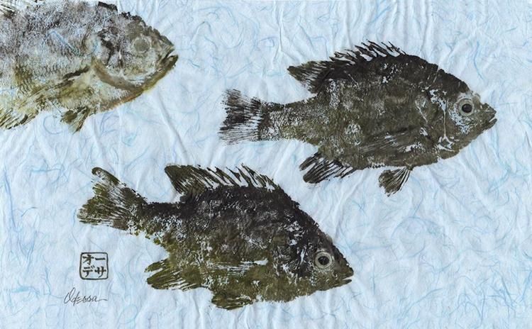 School of Bream Fish Gyotaku (Fish Rubbing) - Image 0