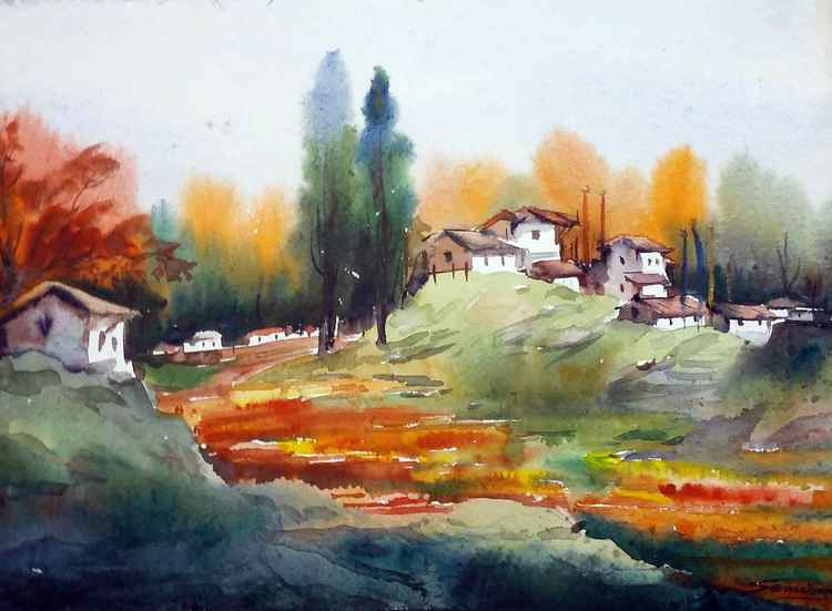 Autumn Mountain Village & Flowers Garden - Watercolor on Paper -