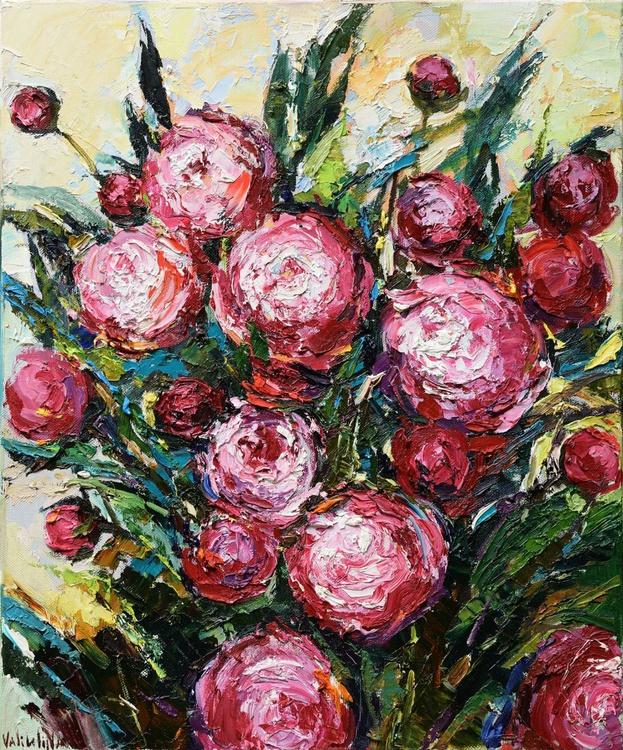 Peonies floral impasto painting - Image 0