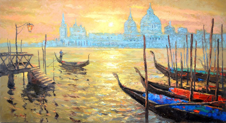 Sunset in venice - Oil painting by Dmitry Spiros. 52cm x 98 cm - Image 0
