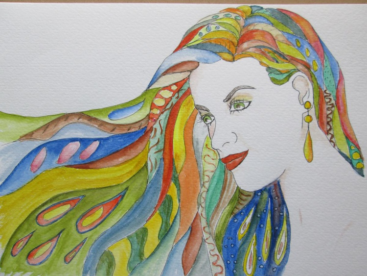 """COLOURFUL HAIR"", Woman portrait, A 70-ish inspired colourful painting, Original Watercolour - Image 0"