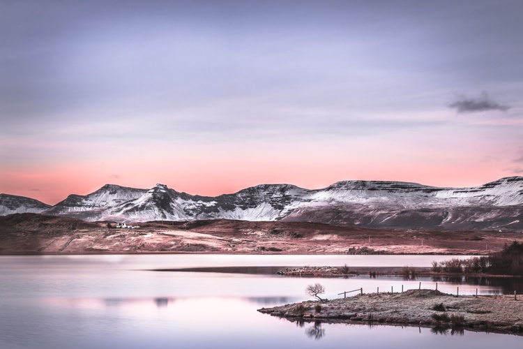 Winter at Loch Mealt -   Extra large CANVAS Dawn Sky Pink and Grey Landscape No 1/10 - Image 0