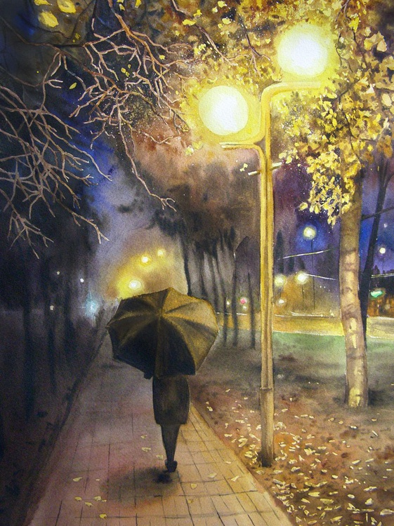 Autumn Evening  - Autumn Painting, Autumn Decor, Park, Cityscape, Landscape, Umbrella, Lady with Umbrella, October Evening, original watercolor painting, home decor, wall decor - Image 0