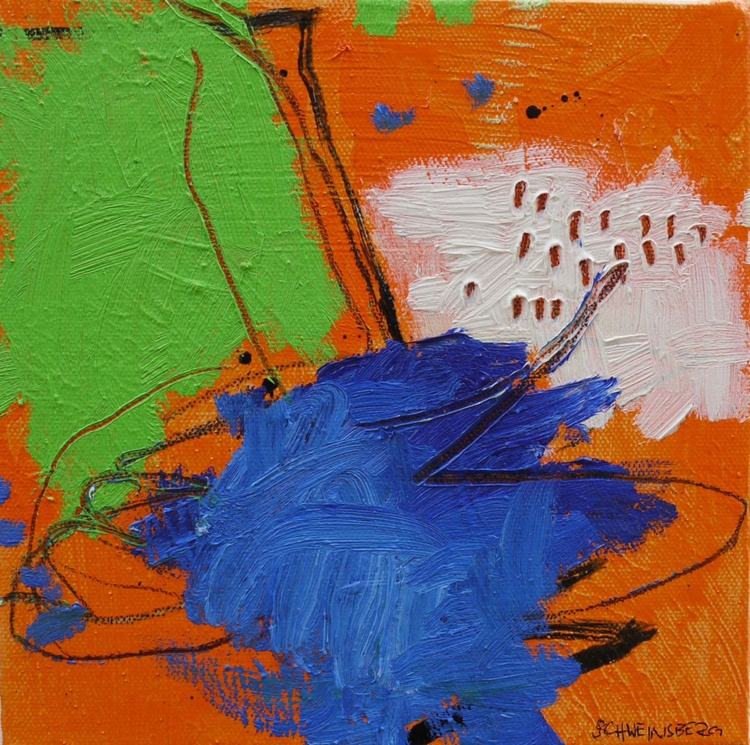 A Day at the Lake #1 | small abstract oil painting | orange - blue - green - Image 0