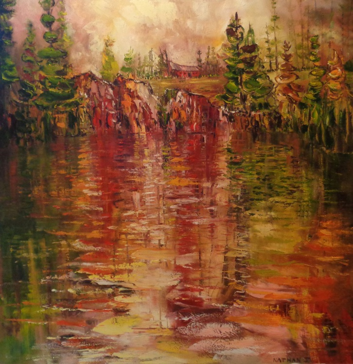 LARGE 40 X 40 inch. Beyond the edge of the lake - reflections - Image 0