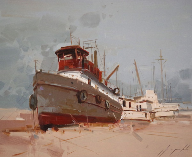 Tug on the Shore, Seascape, Original oil painting, Handmade artwork, One of a kind, Signed with Certificate of Authenticity - Image 0