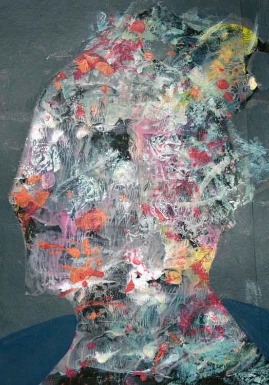 head of babylonian man decalcomania tehnique portret oniric by KLOSKA -