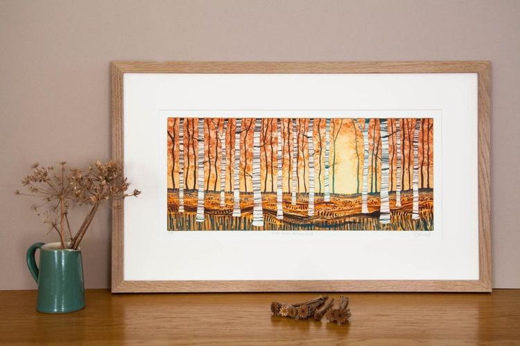 Silver Birch Autumn Gold framed - Image 0