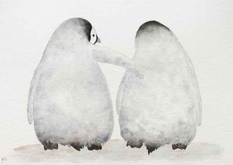 Two emperor penguin chicks - friends.