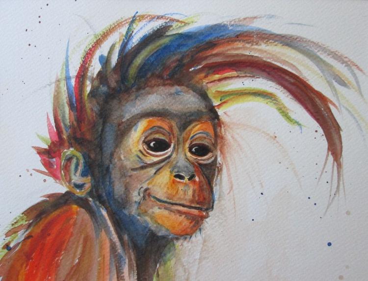 """ORANGUTAN SMILE"", cheeky monkey, primate - Image 0"