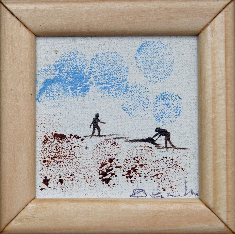 Building sand castles, miniature oil painting on canvas 8x8 cm framed and ready to hang - Image 0