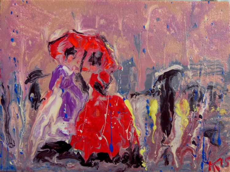 red dress. original painting 20x15 cm - Image 0