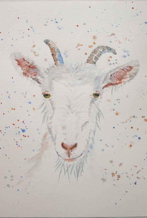 """GOATEE"", Farm animal, Goat portrait, original watercolour, 8.5x11.5inch - Image 0"