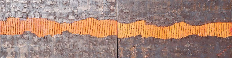 rusty iron orange Vertical long painting 50x200x2 cm decor original abstract art Large paintings acrylic on stretched canvas metallic textured wall art by artist Ksavera - Image 0