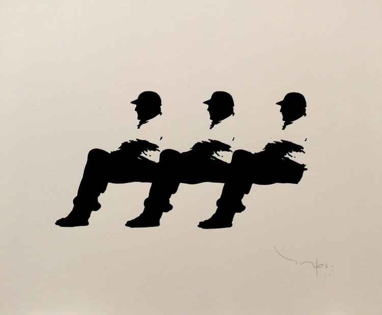 Three men on a bench 10 -