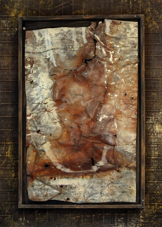 FOUND OBJECT INTERVENTION ON METAL HUMAN FACE EXPRESSIVITY LOST ANCIENT TRACE MEMORY BY KLOSKA - Image 0