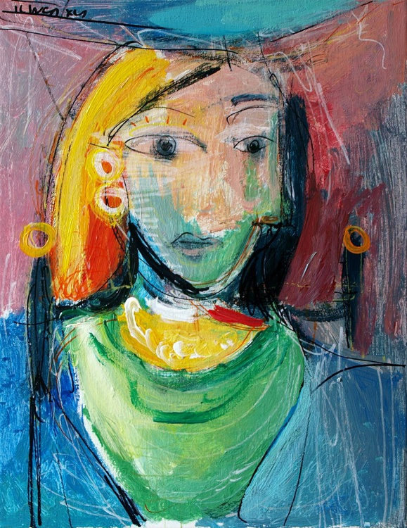 Woman in green and blue (Inspired by Picasso) - Image 0