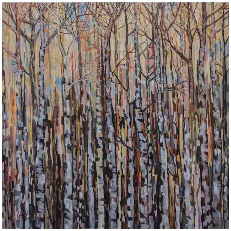 Young Birches  (117x117 cm)