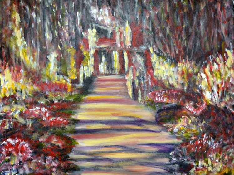 Majestic Garden colorful impressionist style Painting -