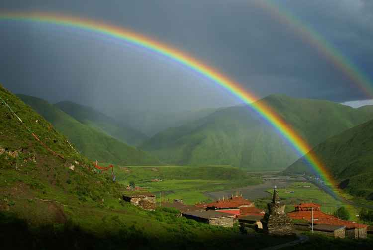 Double Rainbow Over Katog Monastery, Tibet -