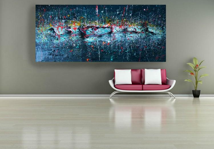 Night Yachts, big original painting, 200x90 cm - Image 0