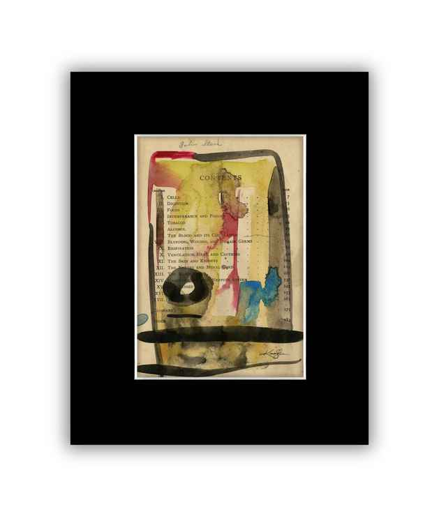 Abstract 18 on Antique Book Page - Abstract Watercolor Painting -