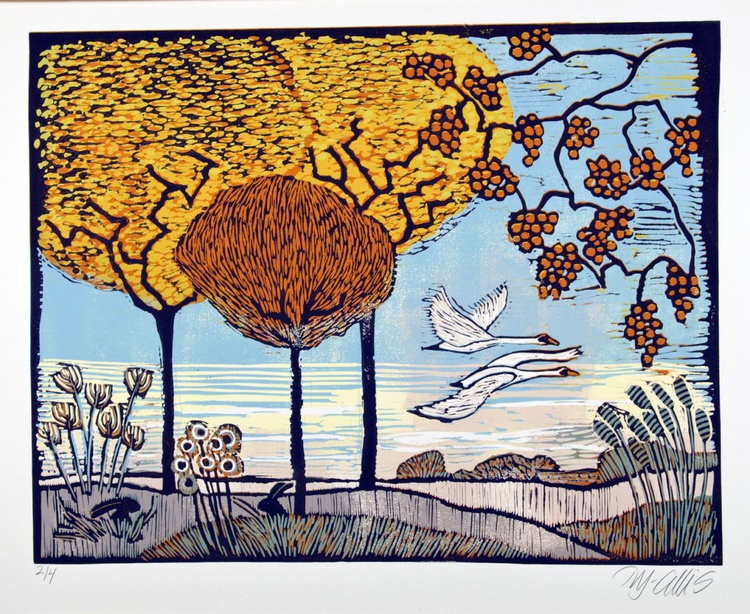 October Fire, linocut reduction - Image 0