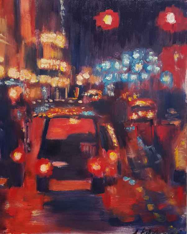 Red night in the city -