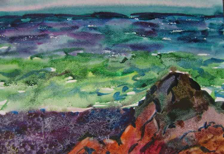 Seascape, watercolor painting 45x32 cm -