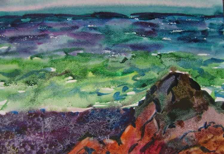 Seascape, watercolor painting 45x32 cm