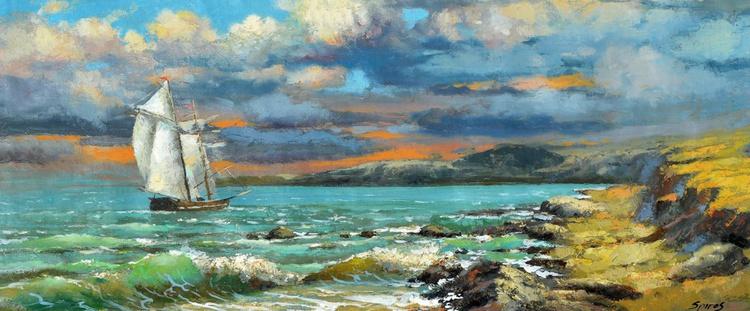 "Lonely sailboat - Original Oil palette knife Painting, Size: 35cm x 84cm, 12""x 34 - Image 0"