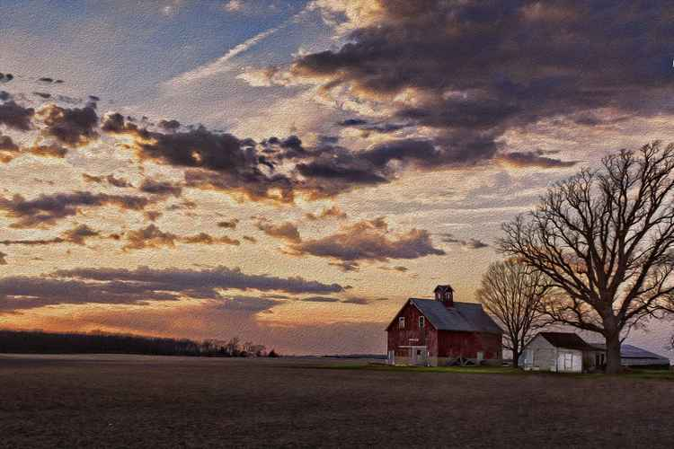 Country Sunset in Early Spring -
