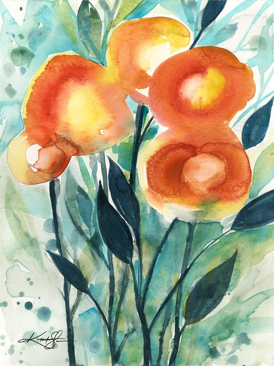 Flower Play  No. 1 - Flower Watercolor Painting - Image 0