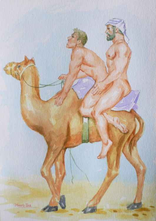 original watercolour painting art male nude gay interest and camel on paper #16-2-24-05