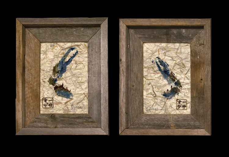 Blue Crab Claw SET of 2 Gyotaku (Fish Rubbing)