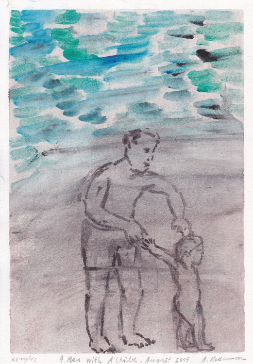 A Man with a Child, Lucija, August, 2015_acrylic on paper 29,7 x 20,8 cm - Image 0