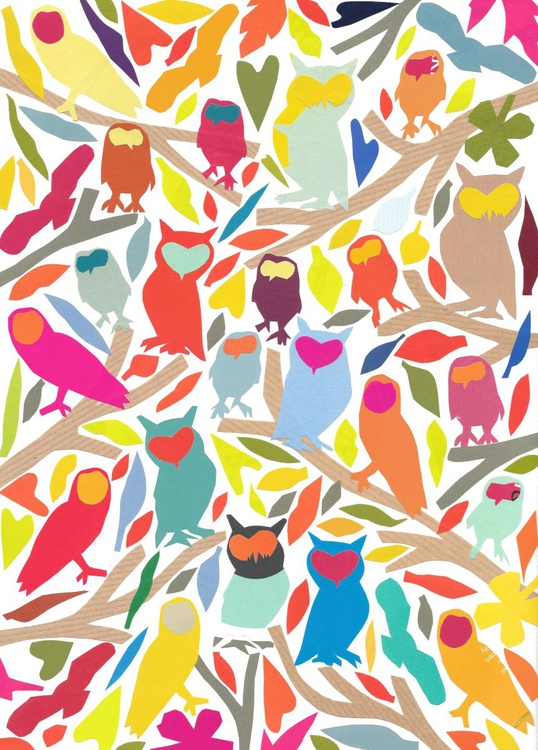 Owls  (Hand Cut Collage) Original Picture - Image 0