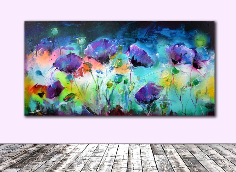 Purple Opium - Big, Large Modern Ready to Hang Purple Poppies Painting, Office Wall Decoration - Image 0
