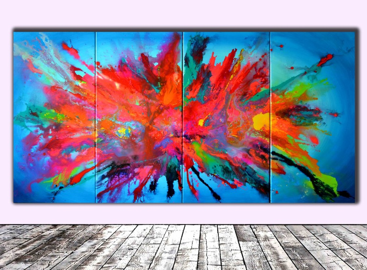 Broken Pandora - 200x100 cm XXXL Huge Modern Abstract Big Painting, FREE SHIPPING - Large Painting - Ready to Hang, Hotel and Restaurant Wall Decoration - Image 0