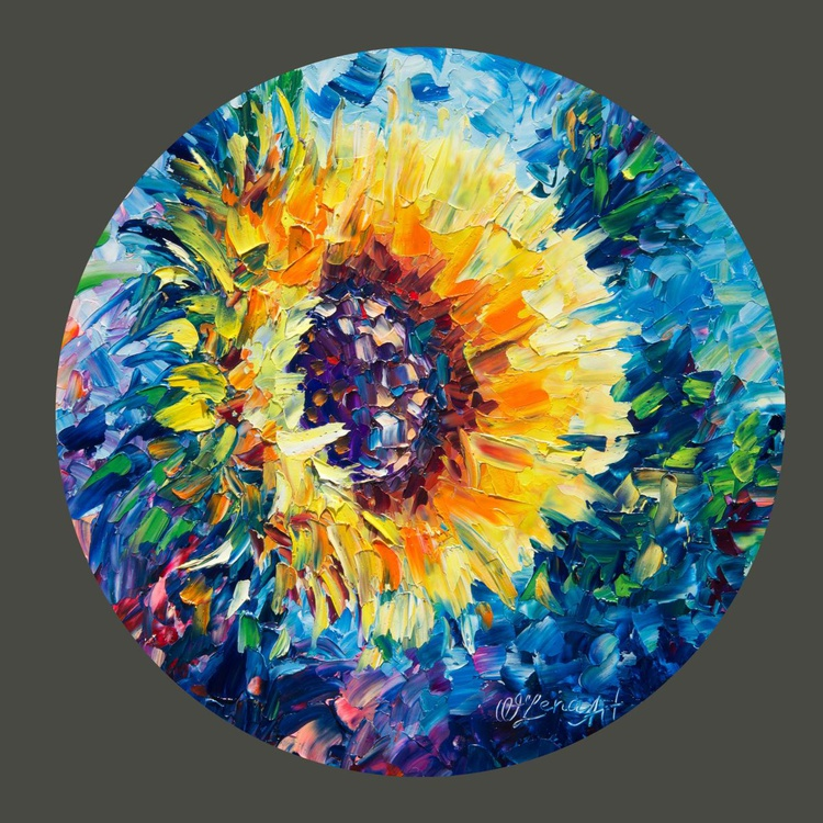 Sun Flower  (On a wooden circle) - Image 0