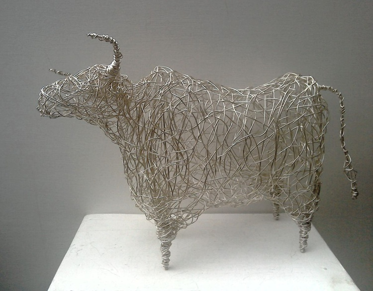 """""""Queen of the Herd"""" - Silver Wirework Cow - Image 0"""