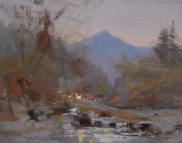 "Small landscape painting "" November Air "" ( 429l15 ) - Image 0"